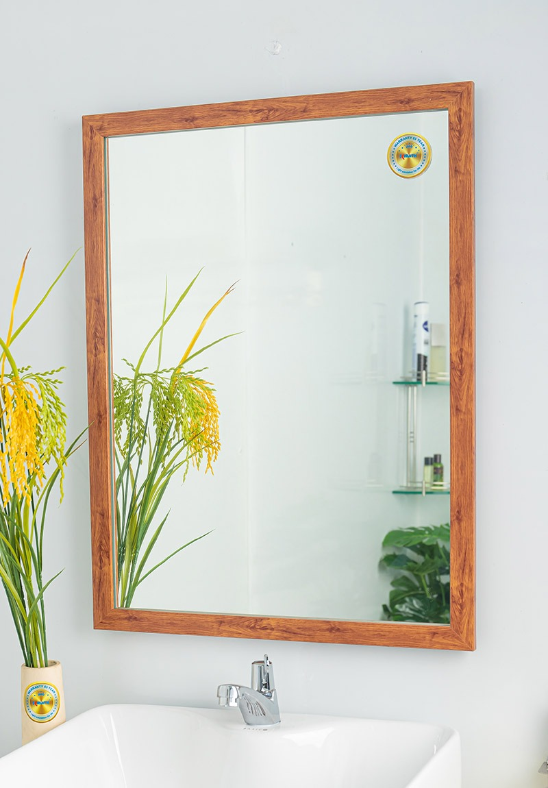 gương treo nhà vệ sinh khung gỗ đẹp