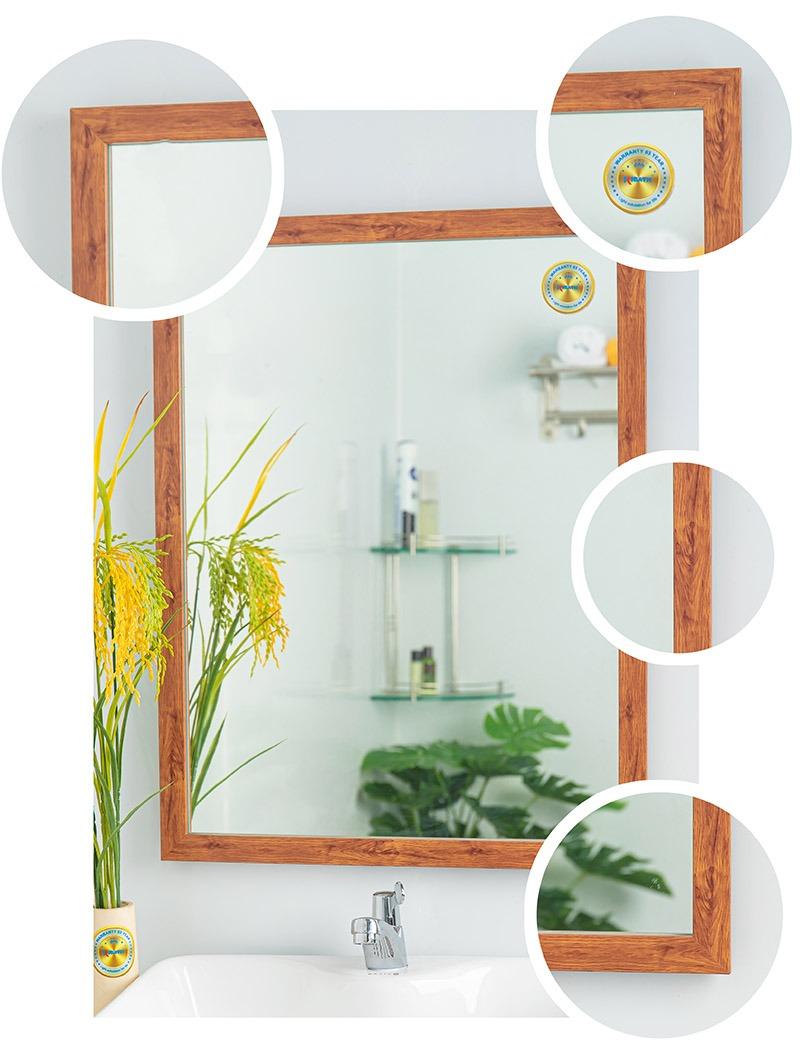 gương treo tường phòng tắm khung gỗ đẹp
