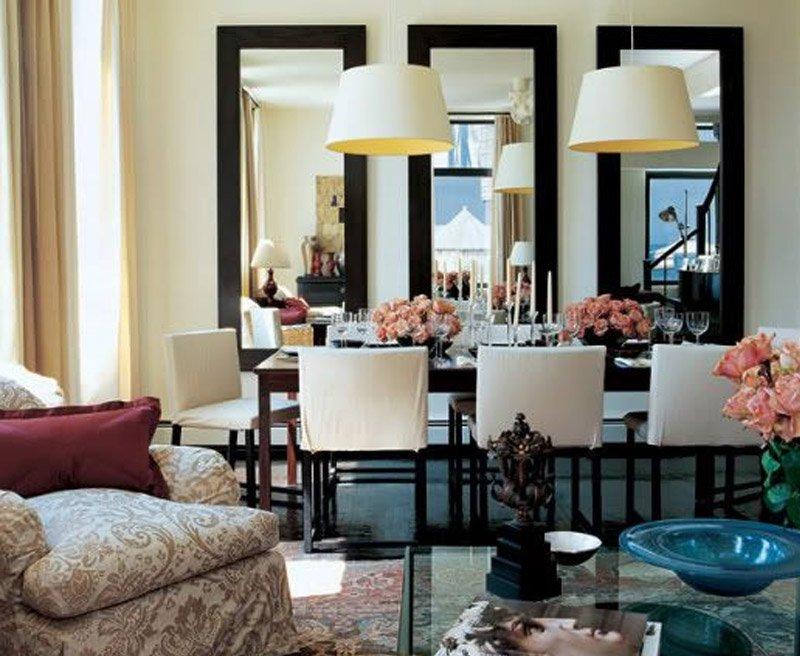 gương khung gỗ phòng khách