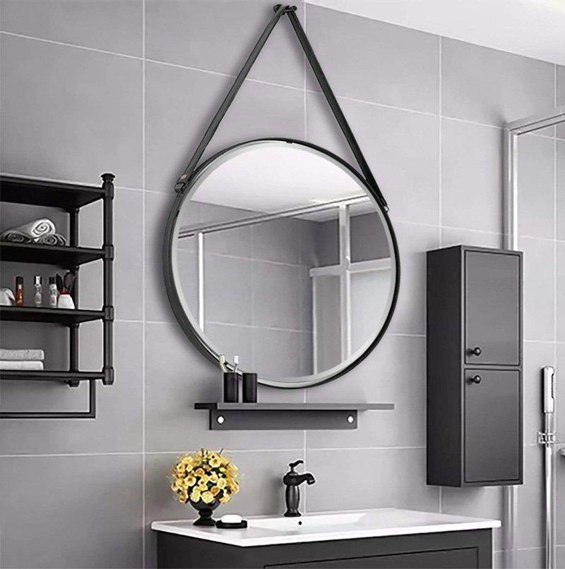 gương tròn dây da nhà tắm