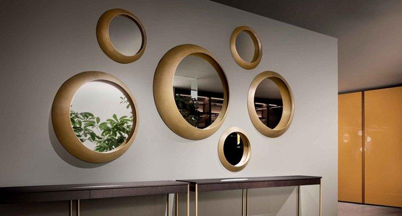 gương tròn khung gỗ