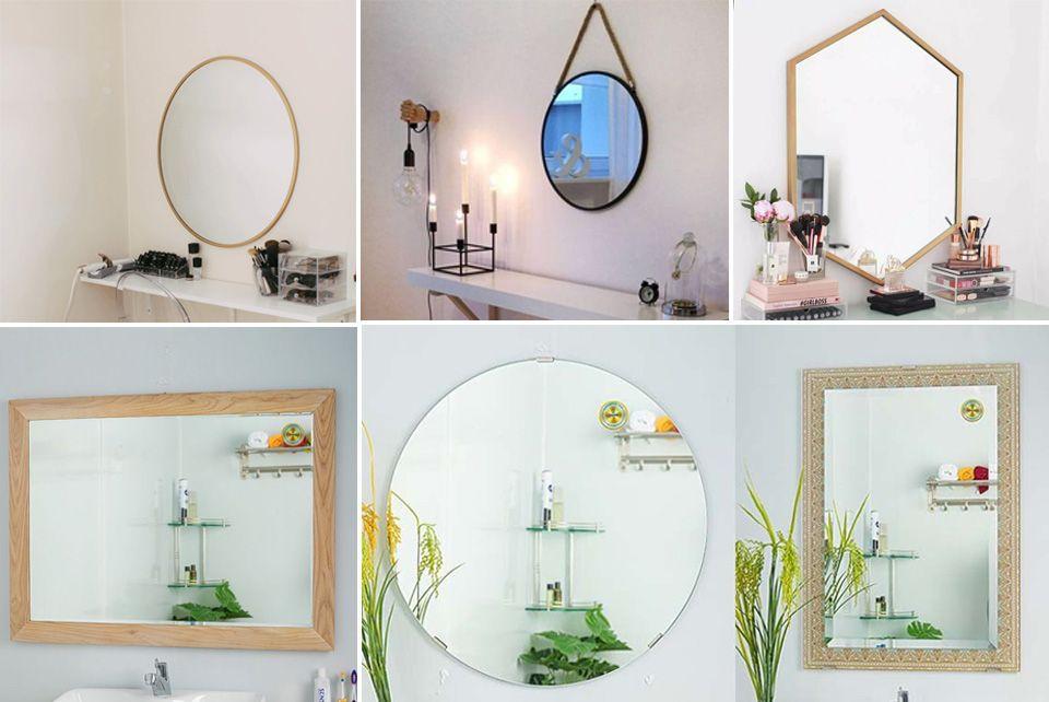 các loại gương trang điểm treo tường