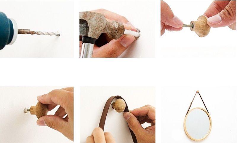 hướng dẫn cách treo gương dây da